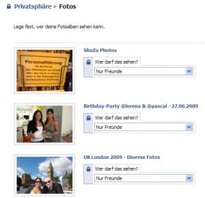 Facebook Privatsphäreneinstellungen Fotos