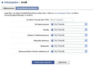 Facebook Privatsphäre Profil Kontakt