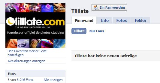 Tilllate Facebook Fan-Seite