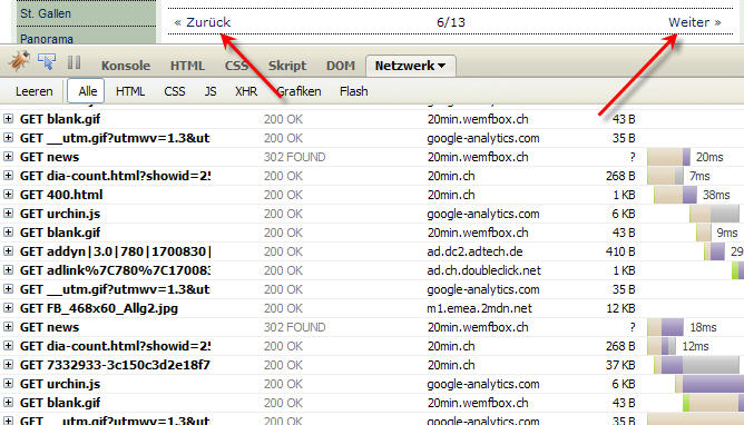 Traffic bei Bildgallerie via FF-Webdeveloper 20min.ch