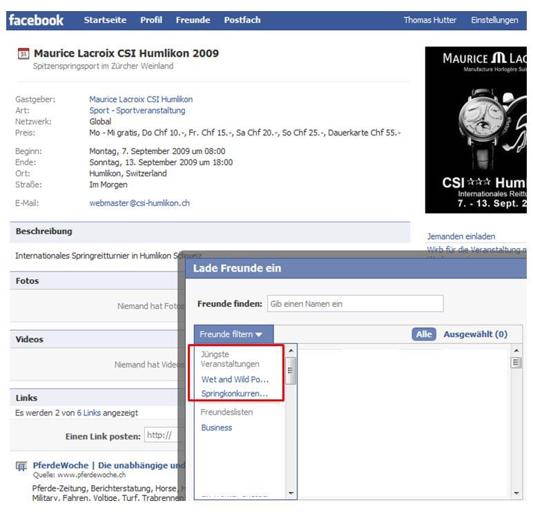 Facebook Einladungen zu Veranstaltungen