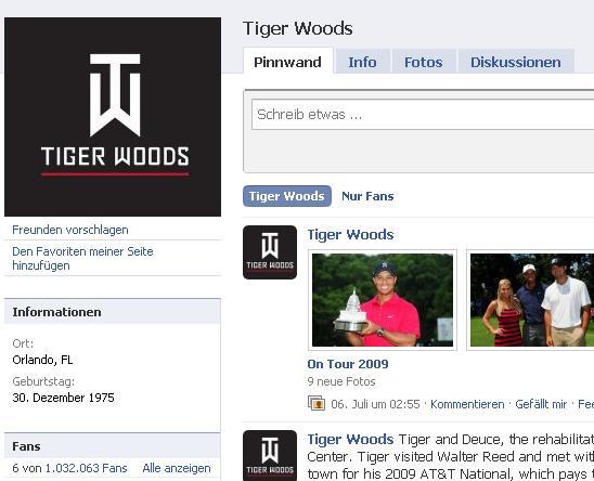 Tiger Woods Facebook Fan Seite