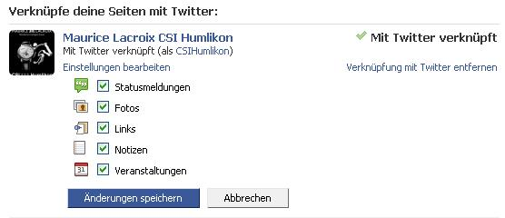 Facebook to Twitter Einstellungen