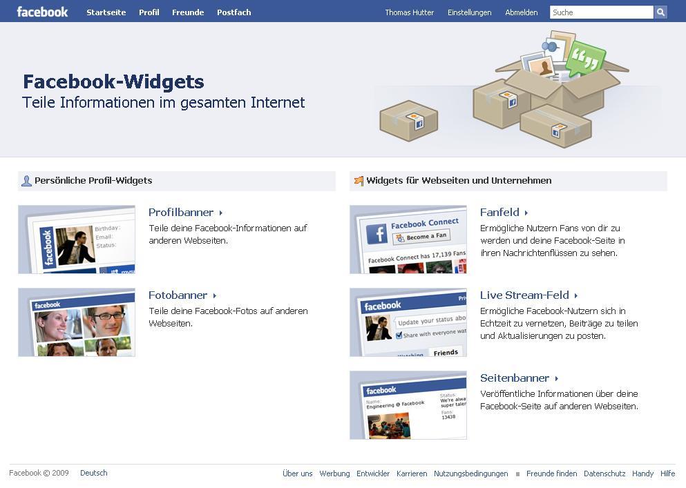 Facebook Widgets - teile Informationen im gesamten Internet