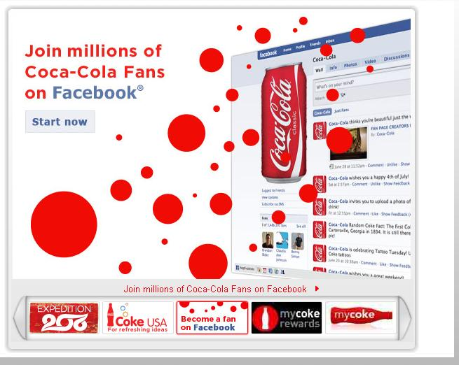 coca-cola.com Facebook Fan Page Teaser