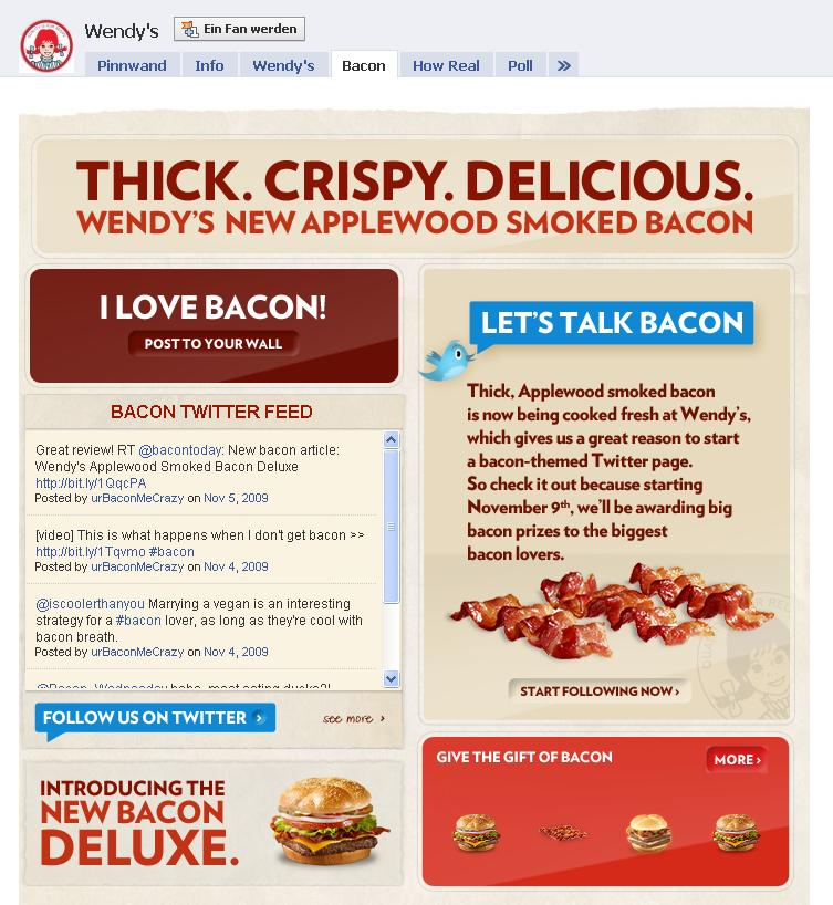Facebook Fanpage Wendy's Bacon