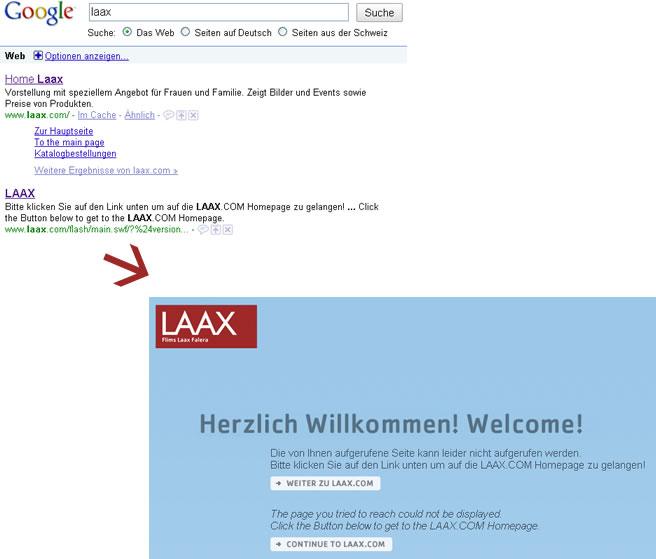 Laax 404 Meldung