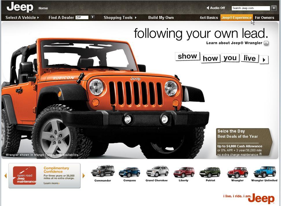 Homepage von jeep.com