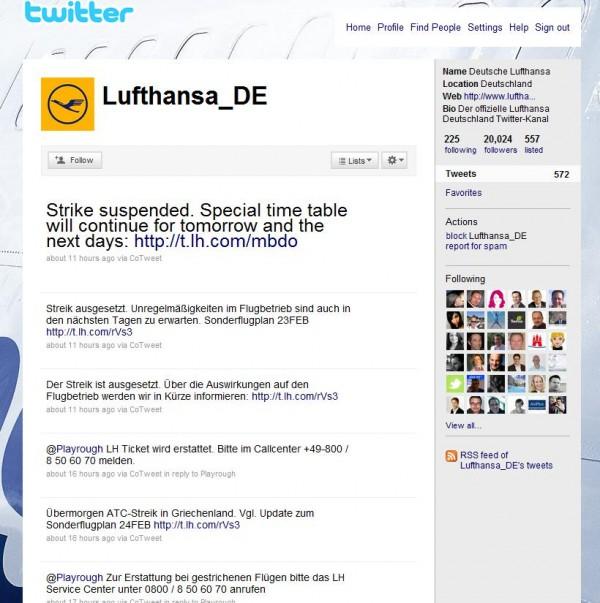 Lufthansa Twitter