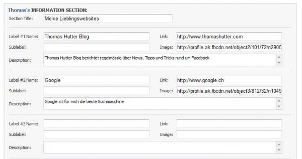 Erweiterung des Infobereichs im eigenen Profil