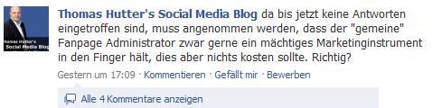 Beispiel Beitrag Fanpage ThomasHutterBlog