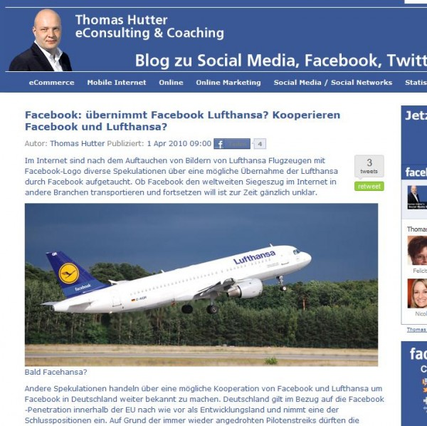 Facehansa - keine Übernahme von Lufthansa durch Facebook