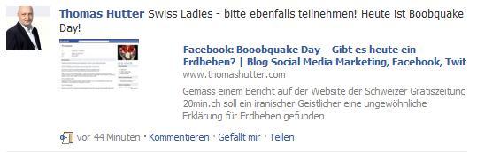 Facebook Share im Einsatz (Pinnwand / Newsfeed)