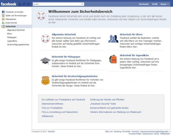 Facebook Sicherheitsbereich