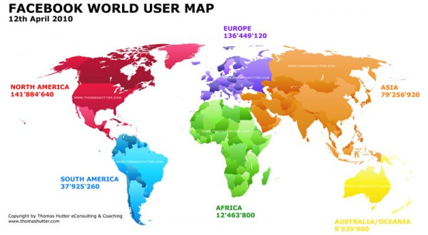 Facebook World User Map 12th April 2010