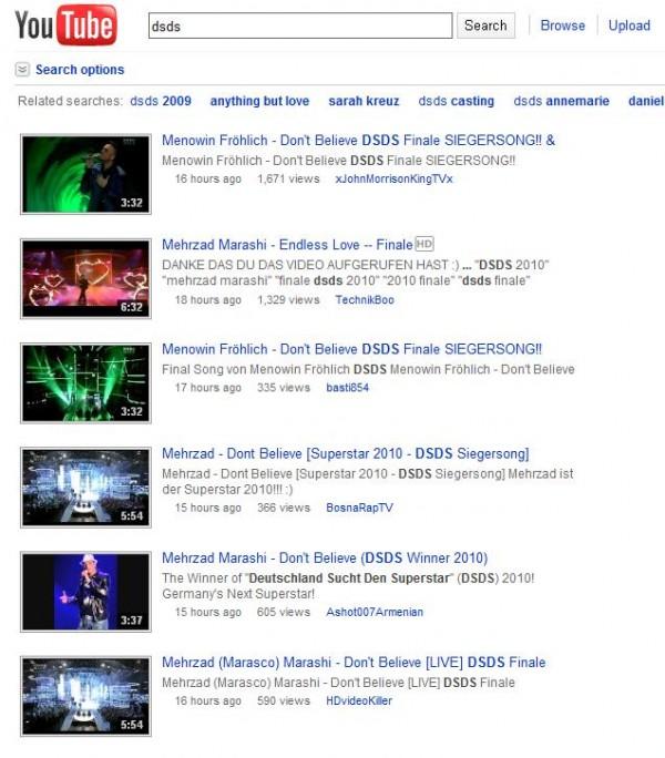 DSDS auf Youtube