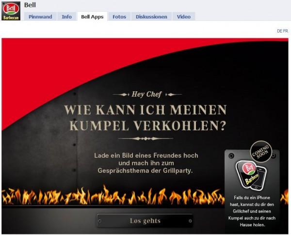 Bell BBQ Facebook Applikation Startbild