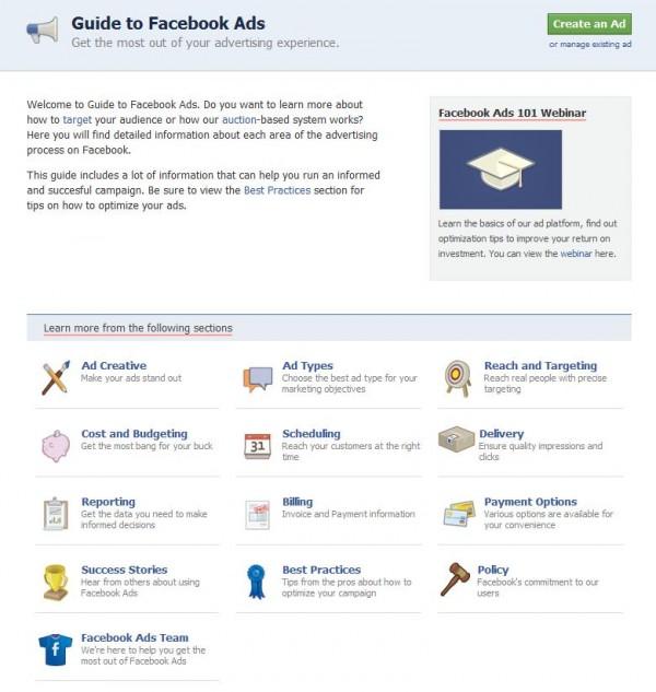 Hilfebereich für Facebook Ads