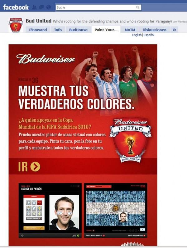 Facebook Seite Budweiser United