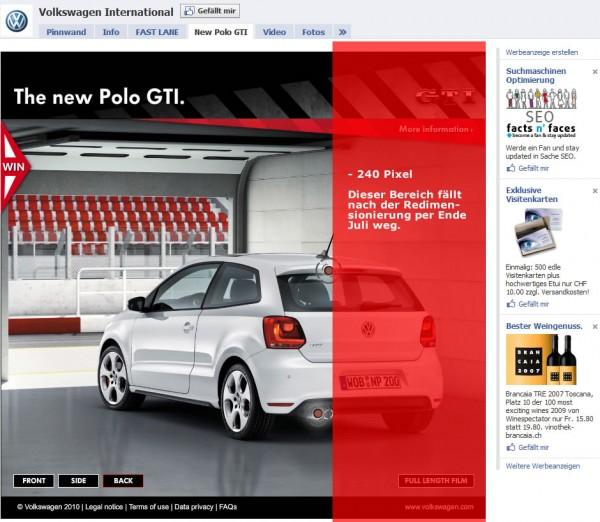 Volkswagen Facebook Seite ist noch nicht 520 ready