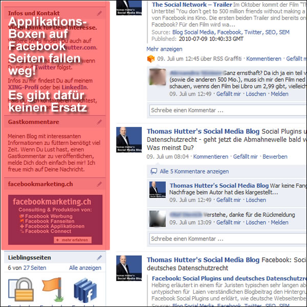 Applikationsboxen (im Beispiel FBML-App) fallen auf Facebook Seiten weg