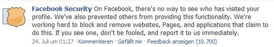 Hinweis auf Facebook Security