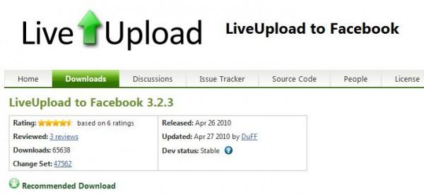 LiveUpload to Facebook