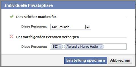 """Facebook Privatsphäre-Einstellungen """"Orte an denen ich ich mich befinde"""""""
