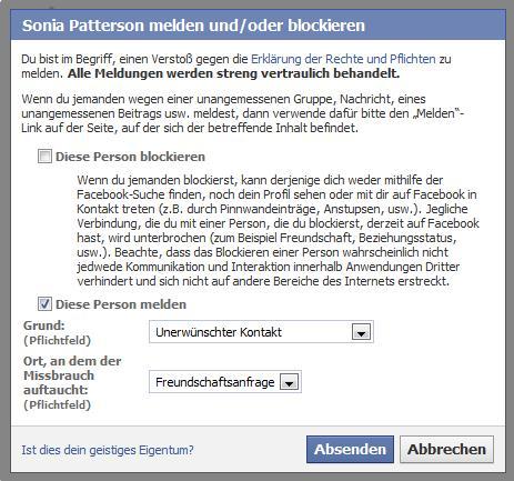 Unerwünschte Kontakte an Facebook melden