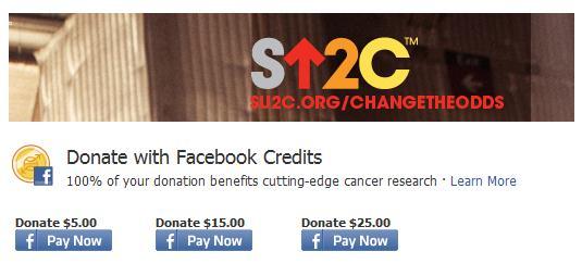 """Facebook Credits als Spenden-Währung bei """"Stand Up To Cancer"""""""