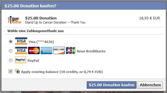 Facebook Credits Kaufabwicklung