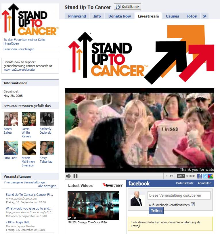 "Livestream auf ""Stand Up To Cancer"""