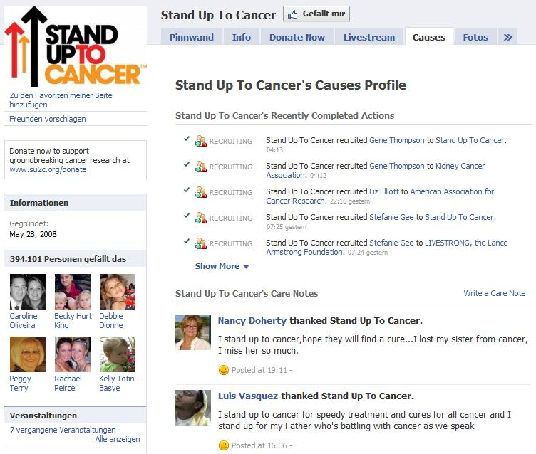 """Causes Integration in """"Stand Up To Cancer"""""""