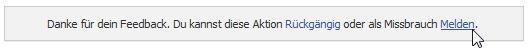 """Anzeige nach Klick auf """"melden"""""""