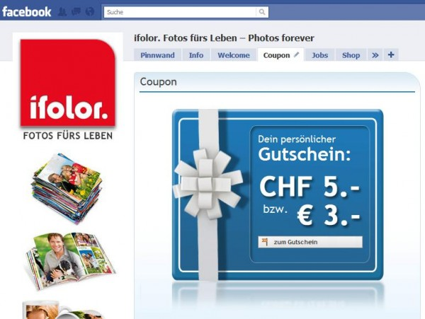 Ifolor Facebook Seite Coupon