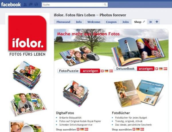 Ifolor Facebook Seite Shop in Deutsch