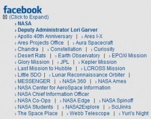 Weitere NASA-Facebook-Seiten und -Profile