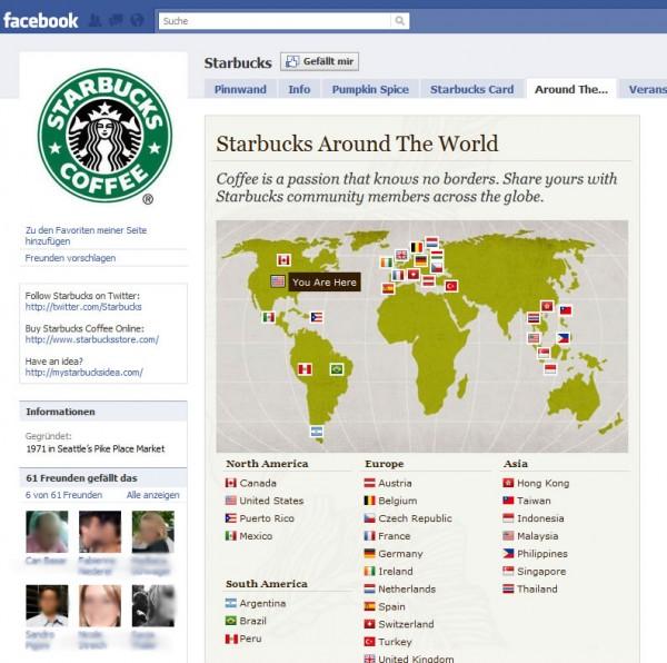 Starbucks Dachmarke mit Verweis auf die Facebook Seiten der einzelnen Länder