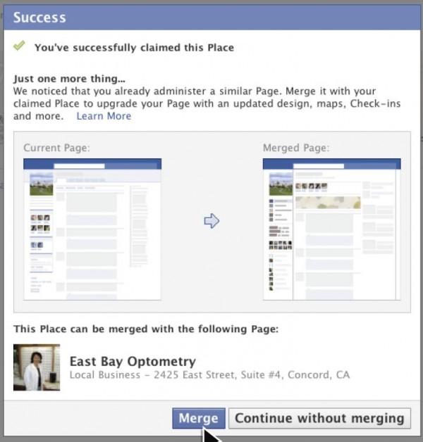 Zusammenführen von Facebook Place Ort und Facebook Seite