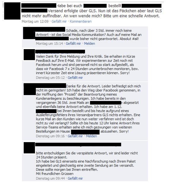 Beispiel einer Supportanfrage, bzw. der Erwartungshaltung zur Reaktion auf einer Facebook Seite