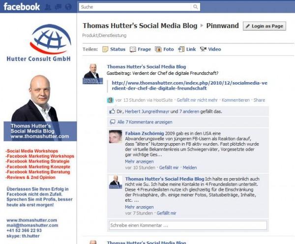 Neues Layout der Facebook Seiten mit vertikaler Navigation rechts unterhalb des Profilbildes