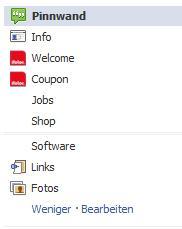 vertikale Navigation auf dem neuen Facebook Seiten Layout