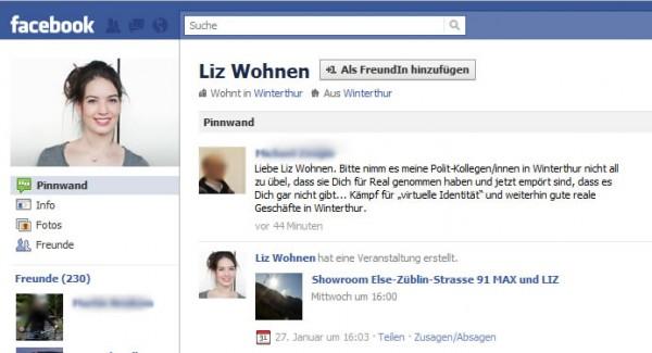 Fake-Profil Liz Wohnen auf Facebook