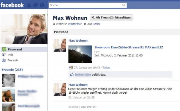 Fake-Profil Max Wohnen auf Facebook