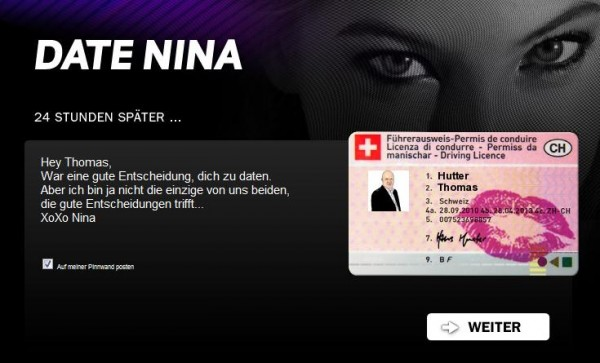 "Facebookapplikation ""Date Nina"""