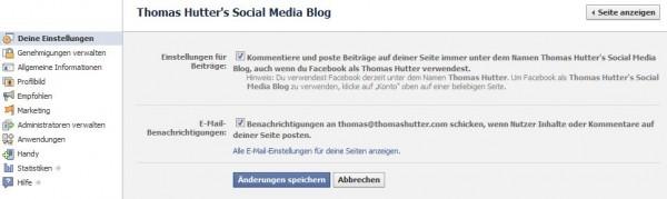 Deine Einstellungen im Administrationsbereich der Facebook Seite