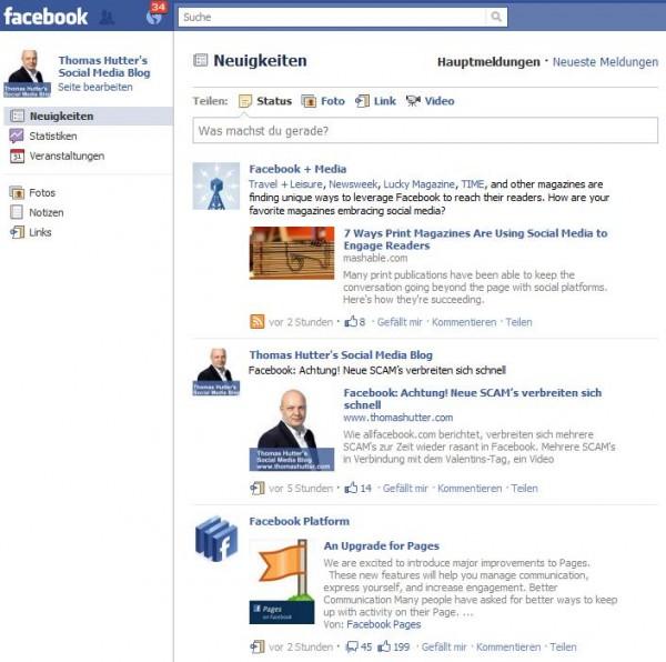 Newsfeed der Facebook Seite