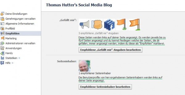 Seiteninhaber publizieren und favorisierte Seiten festlegen