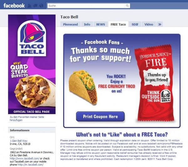 "Taco Bell Promo Aktion ""Free Taco"""