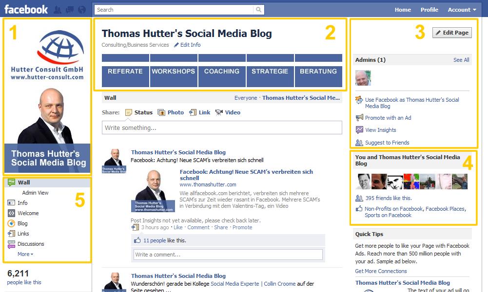 Facebook Seite - Ansicht für Seitenadministratoren